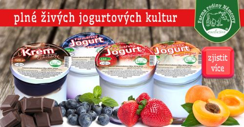 AKCE - jogurt mix 7x 150g (karamel, jablko, jahoda, meruňka, višeň, borůvka, malina)